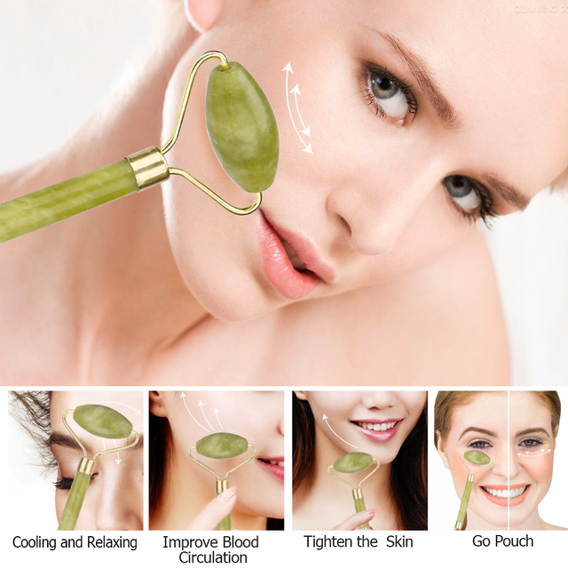 Facial Massage Roller Jade Double Head Face Slimming Body Head Neck Lifting Tool Facial Massage Roller Stone Beauty Care Tools 5