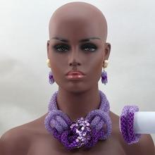 Luxury Purple Crystal Beads Bridal Jewelry Set African Nigerian Wedding Beads for Women Jewelry Set Choker Necklace Set HX578