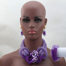 Luxury Purple Crystal Beads Bridal Jewelry Set African Nigerian Wedding Beads for Women Jewelry Set Choker