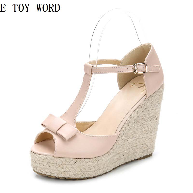 Han edition 2018 new sponge is bottom thick hemp rope wedges womens summer sandals cingulate female fish mouth bow a word