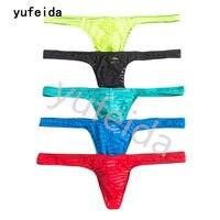 YUFEIDA Sexy Mannen Ondergoed Strepen Strings Strings Erotische Passie Gay Penis Pouch Erotische Lage Taille Jockstrap Homme 5 Stks/partij