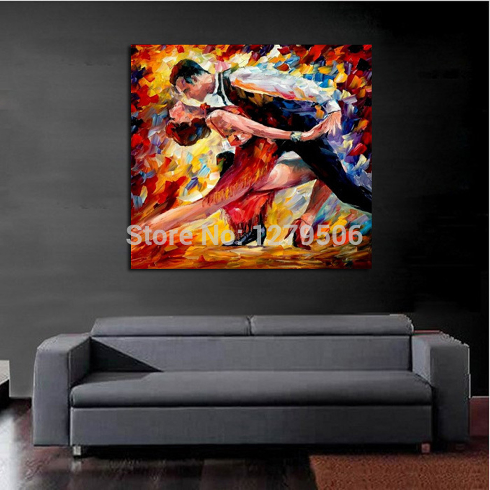 100 Handpainted Abstract Lovers Tango Knife Oil Painting On Canvas Thick Oil Painting Wall Picture For Home Decor As Best Gift in Painting Calligraphy from Home Garden