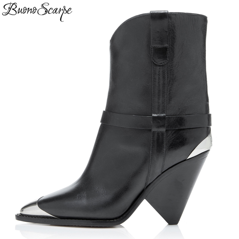 BuonoScarpe Real Leather Ankle Boots Women Metal Pointed Toe Rivet Tassel Strange High Heel Boots Woman
