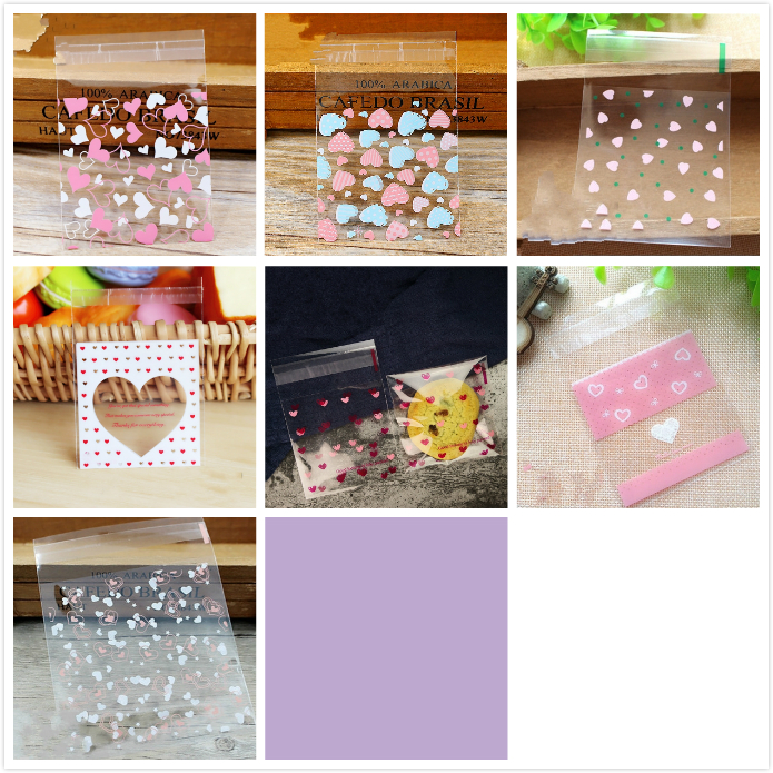 50/100Pcs 7cm Cartoon Love Heart Printed Cookie Candy Plastic Self Adhesive Bag Wedding Birthday Party Gift Packaging Bags