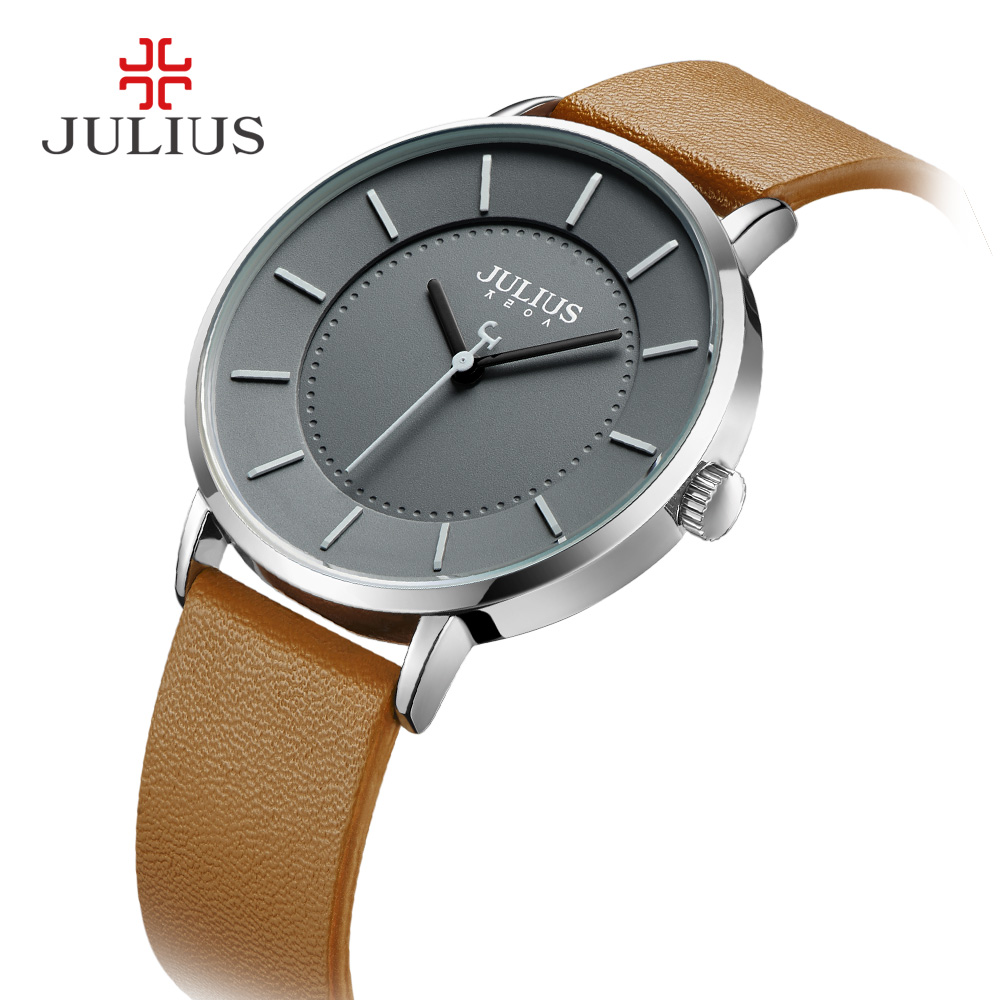 2018 Autumn New Arrival Julius Top Brand Mens Simple Quartz Watch Gray Leather Strap Montre Homme Casual Whatch Unisex JA-998