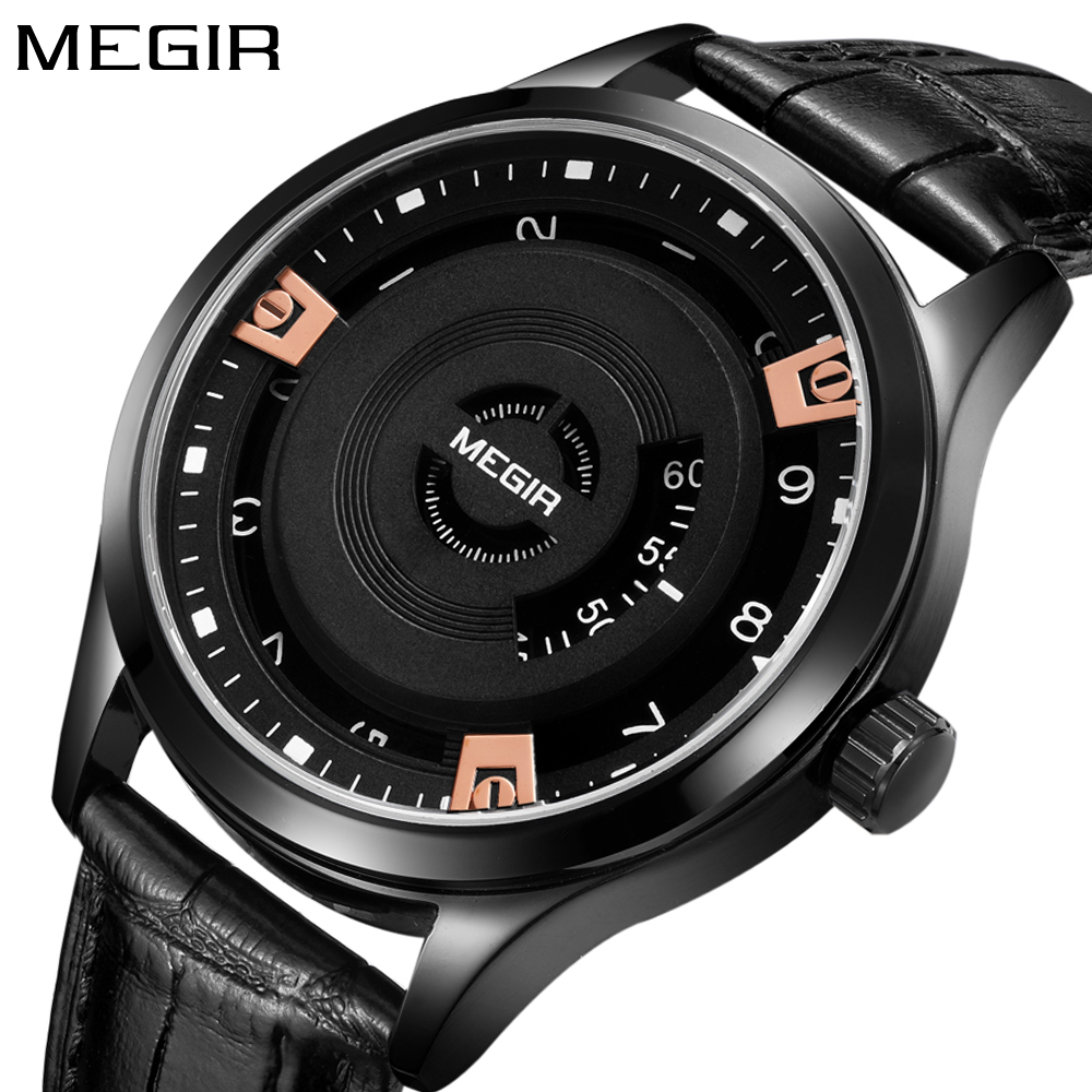 Megir New Creative Design Watch fashion Stylish Quartz men Watch Casual mens Gift Wrist Watch Vintage Timepieces male clock