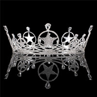 XUANYING Retro Exaggerated Water Drop Silver Alloy Full Round Crown Queen Diadem Prom