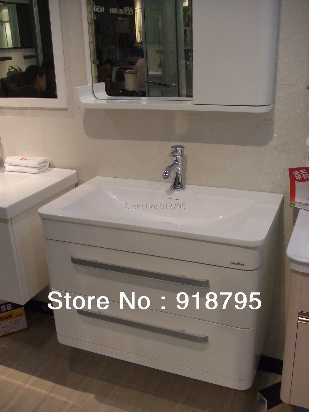 Solid surface stone basin with soild wooden Bathroom Vanity Cloakroom cabinet Oka furniture 793mm*460mm