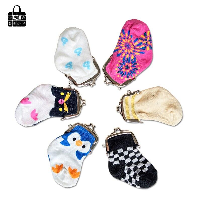 Rose Diary Fashion Creative Unique Socks Coin Purse Boy Girl Cotton Wallet Cute Portable Key Bag MINI Storage Bag Children Gift
