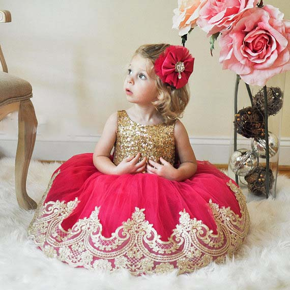 Gold sequins lace baby girl first birthday party dresses red tulle backless kids tutu summer gown toddler princess pageant dress 2018 brand new toddler infant pageant kids baby girl dress velvet fleece birthday party dress tulle tutu long sleeve dress 1 6t
