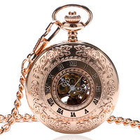New Arrival Fashion Roman Number Hollow Case Design Skeleton Mechanical Pocket Watch With Chain For Men