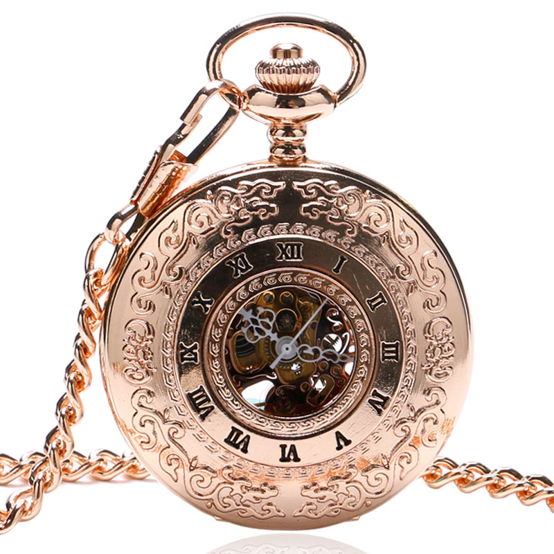 New Arrival Luxury Rose Gold Roman Numeral Hollow Case Design Skeleton Mechanical Pocket Watch 30cm Chain Creative Unisex Gifts