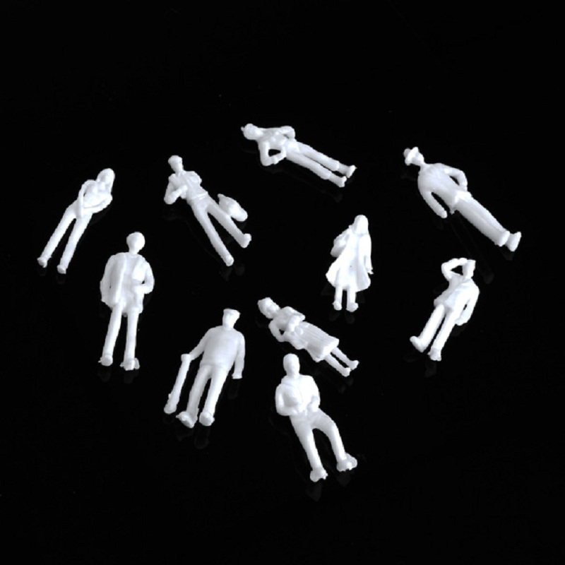 100pcs/lot White 1:75 Model Train HO Scale Figures Building Layout Hand Painted Passenger Toy For Children