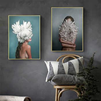 Pintura abstracta de la lona de la muchacha del avatán de La Flor impresión cartel cuadro arte de la pared de la sala de estar decoración moderna del hogar se puede personalizar