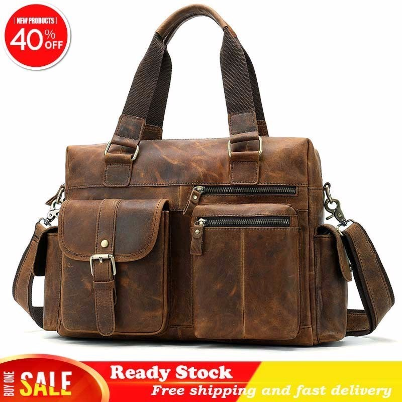 Fashion Genuine Leather Men Briefcase Handbag Messenger Laptop Shoulder Bags For Male Large Capacity Travel Duffle Fast Delivery