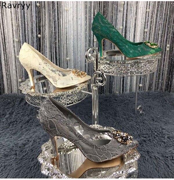 À Mariage Aiguille Cristal Vert Bout Décor As on Dentelle Picture Hauts Picture Slip as Sexy De Femelle Habillées Talons Bling Femme Pompes Pointu Chaussures AXzO5Uq