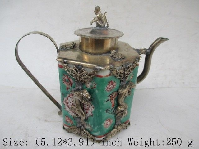 Chinese ancient Tibet copper relief wall longhu monkey ceramic teapot