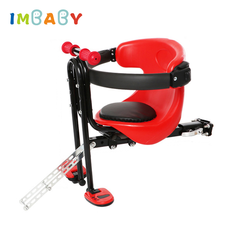 IMBABY Bicycle Baby Seat for Kids Child Safety Seat Carrier Front Seat Saddle Cushion with Back Rest Foot Pedals Bike Child Seat все цены