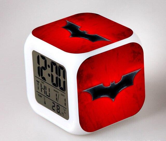 US $7.27 44% OFF|Hero Batman Kids LED 7 Color Changing Flash Digital Alarm  Clocks Girls&Boy Bedroom Night Light Wake Up Clocks free shipping-in Alarm  ...