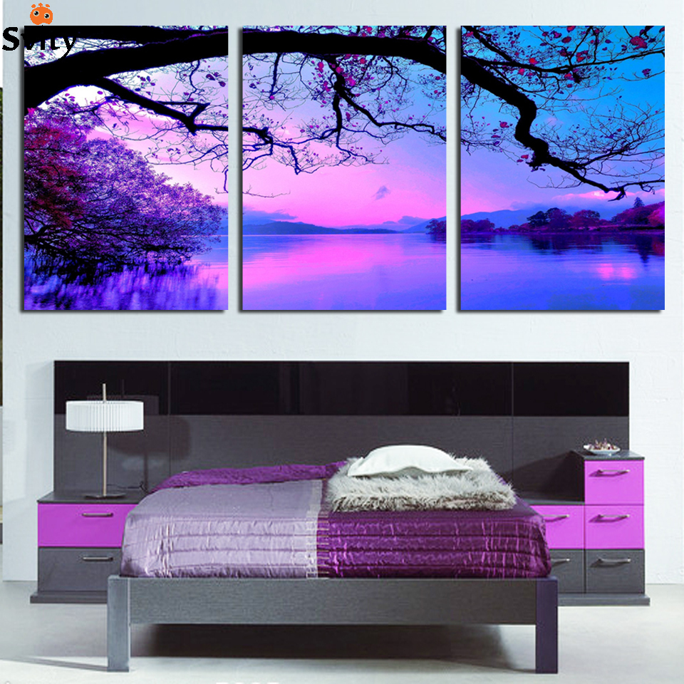 Free Shipping Painting Purple cloud scenery 3 Piece Art Cheap Picture Home Decor On Canvas Modern Wall Prints Direct Selling