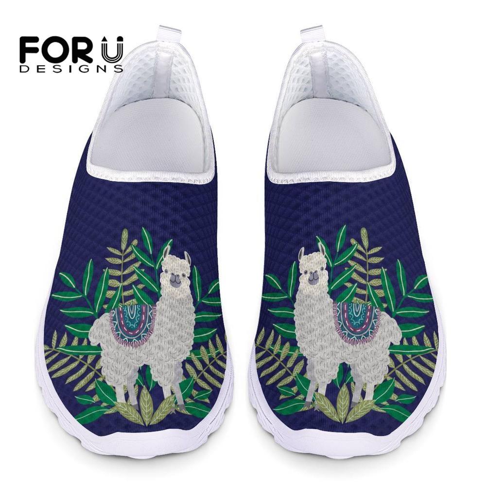 FORUDESIGNS Women Shoes Alpaca-Printed Sneakers Flats Mesh Casual Summer Cute Teenage