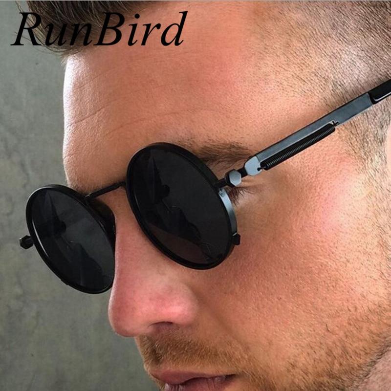RunBird Round Retro Steampunk Men Women Sunglasses Metal Vintage Sun Glasses Brand Designer Men's Male Lentes UV400 460R