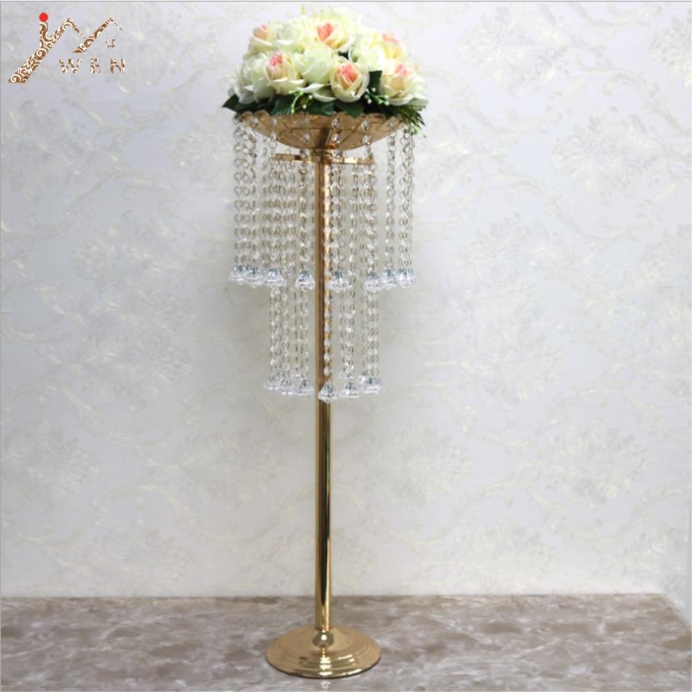Acrylique route plomb cristal mariage pièce maîtresse Table fleur Vase Stand perle Rack 32