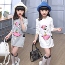 New Girls Natural Spring Child Long Sleeve Blouse Children Printing Clothing Kids Clothing Korean T-shirt White Grey
