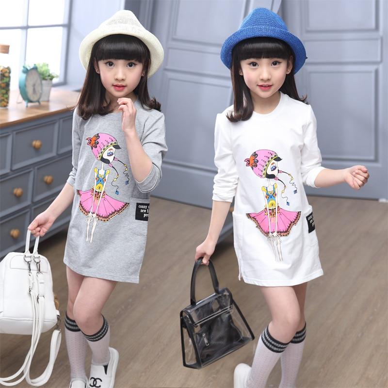 4f131ed61 Nueva Niñas natural primavera manga larga blusa niños ropa de impresión niños  ropa coreana camiseta gris blanco