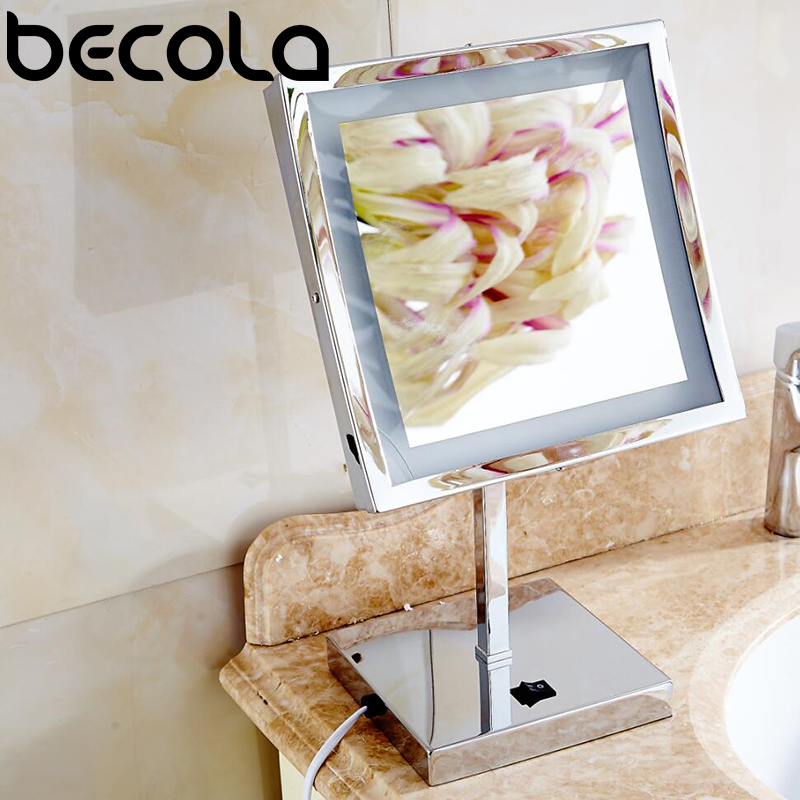 BECOLA LED Make up Mirror- Square cosmetic mirror With LED Adjustable Countertop 3X Magnifier Professional Vanity Mirror BECOLA LED Make up Mirror- Square cosmetic mirror With LED Adjustable Countertop 3X Magnifier Professional Vanity Mirror