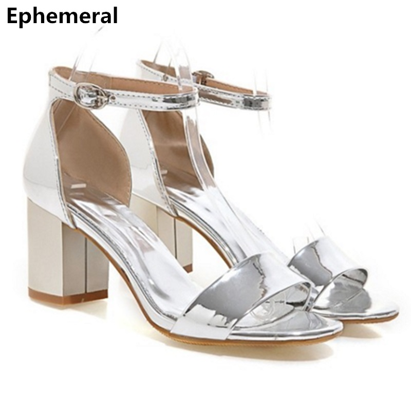Women's buckle strap shoes square heel brand sandals 2017 summer gold and silver sandalia feminina open toe max size 43 42  miquinha summer fashion casual shoes women sandalia feminina open round toe buckle strap square heel shoes sexy ladies sandals