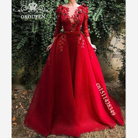 2019 Overskirts Red Tulle Evening Dress For Women Long Sleeves Sheer Jewel Neck Appliques A Line Formal Prom Dress Party Gown