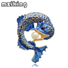 MZC New Blue Fish Brooches Pins for Women Simulated-pearl Brooch Lady Party Accessories Brosche Collar Lapel Pin Female Brosh mziking 2019 new gold fish brooch for women crystal brooch simulated pearl animal enamel pin jewelry clothes accessories brosh