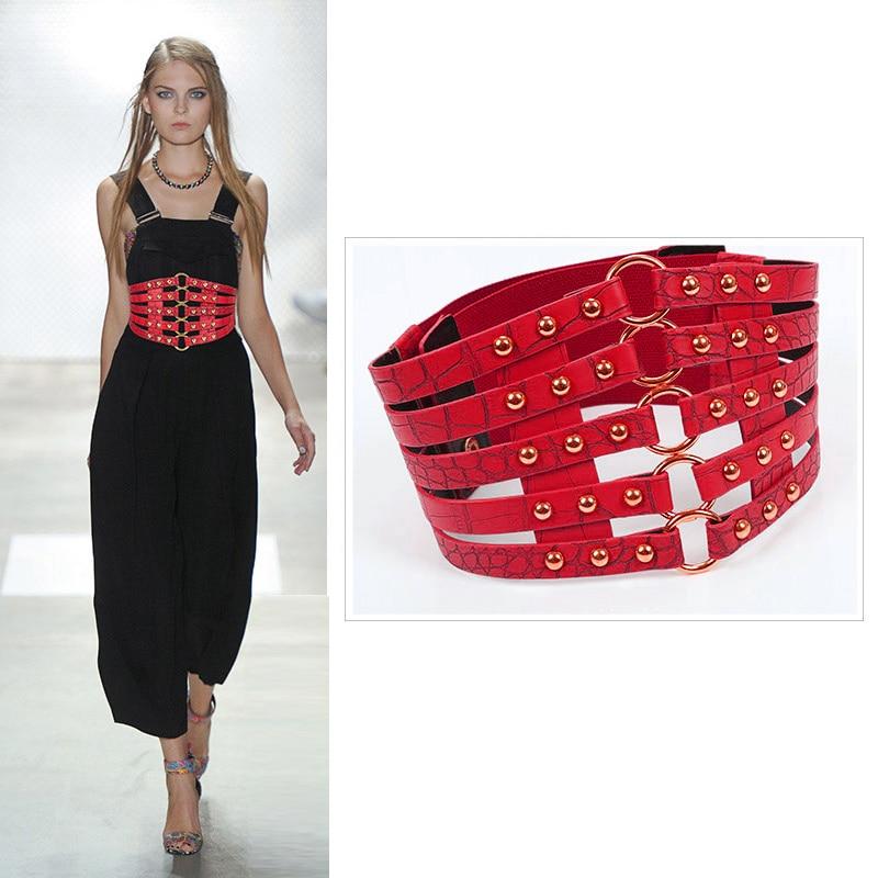 Corset Belt Women Wide Cummerbunds Plus Size Cinturon Mujer Fashion Designer Waist Shaper Punk Rivet Elastic Ceinture 2020