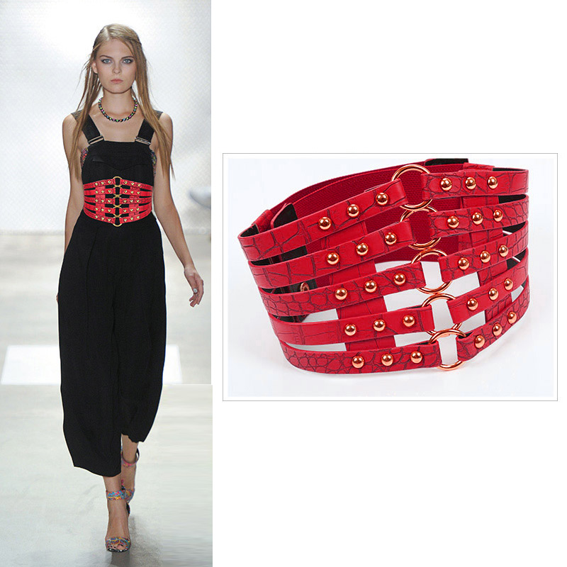 Elastic Slim Corset Fashion Belt 2019 Women Body Shaper Faux Leather Cummerbund Wide Belts Black Punk Rivet Waist Support
