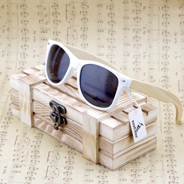 Bobobird Rectangular de bambú de gran tamaño madera gafas de sol polarizadas con espejo reflectante Tint gafas de sol con caja de regalo