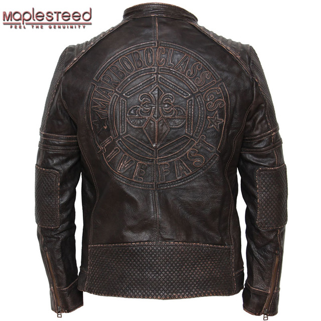 bb1f2d2351dd MAPLESTEED Genuine Cow Skin Vintage Leather Motorcycle Jacket Men's Leather  Jacket Men Biker Jacket Male Leather Coat Winter 074