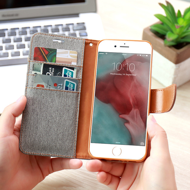 FLOVEME For iPhone X 8 7 5S SE 5 Cases Wallet Flip Card Slot Cover For iPhone 8 7 Plus iPhone 6 6S Plus Kickstand Leather Cover
