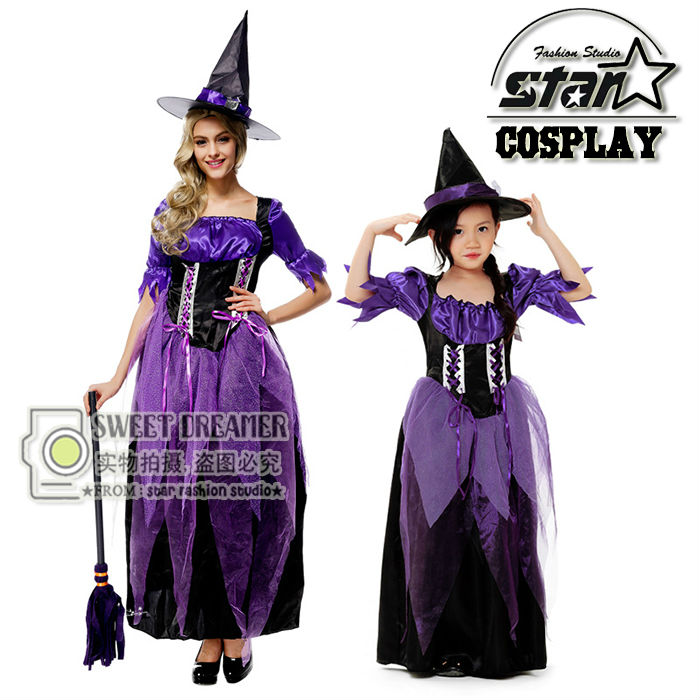 Family Matching Witches Costume Halloween Witch Dress Cosplay For Mom Daughter Christmas Costume Long Purple Long Ball Gown larsen p11g