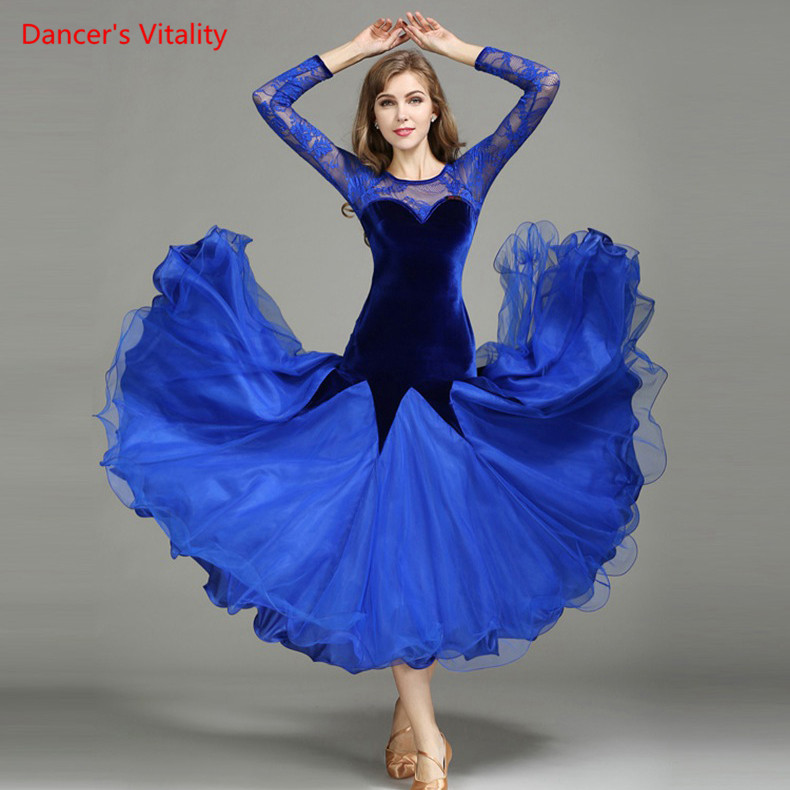 New Lace Velvet Ballroom Dance Dress Women Latin Dance Ballroom Waltz Dance Competition Practice Costumes Big Swing Dress lace velvet swing dress