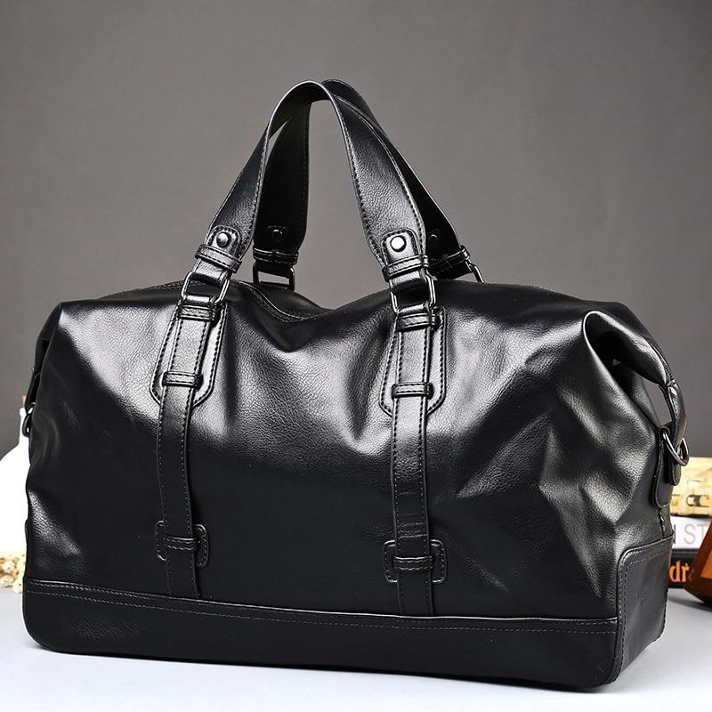 Waterproof Men Handbag Large Capacity Travel Bags PU Leather Luggage Messenger Laptop Bag Casual Tote Bag Vintage Male Briefcase