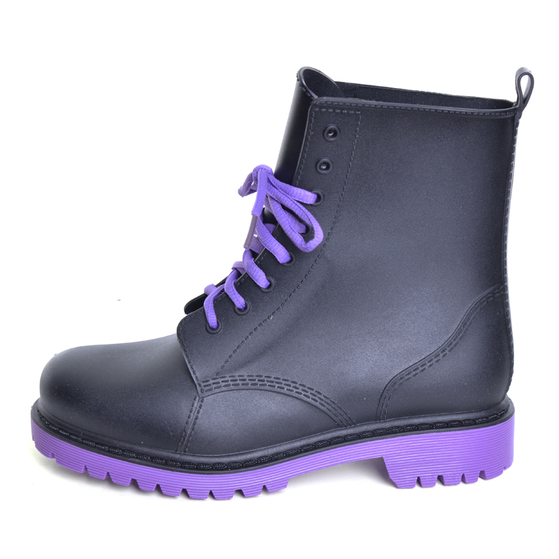 Image 2 - Feng Nong Rain Boots Waterproof Shoes Woman Water Rubber Lace Up Mature Boots Sewing Solid Flat With Shoes Chundong809-in Ankle Boots from Shoes