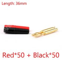 Sale 100PCS 2mm Gold Banana Male Plug Audio Adapters For Instrument Test Probes Red Black High