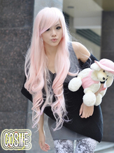 Free shipping Wig cosplay wig Kawaii light pink long curly hair