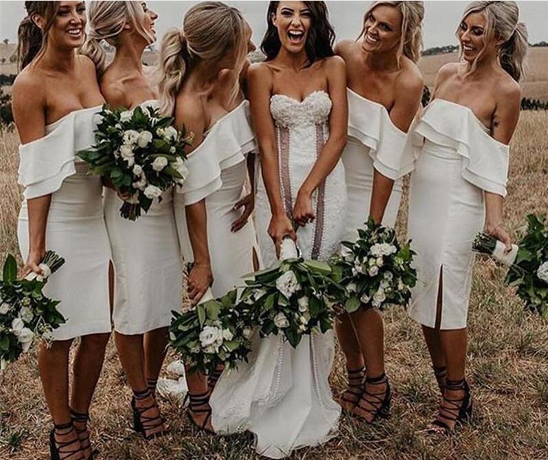 2019 Simple Pure White Sheath   Bridesmaid     Dresses   With Knee Length Maid of Honor Vestido De Novia