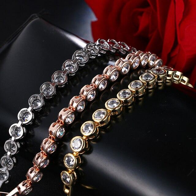EMMAYA Bracelet rond en Cz exquis de qualité supérieure Bracelet couleur or Rose cristaux autrichiens bijoux grande remise