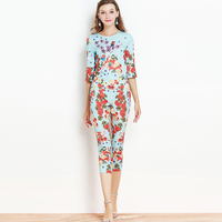 Luxury 2 Piece Set Friuts White Sky Blue Print 3 4 Sleeve Fashion Tops Bohemian Women