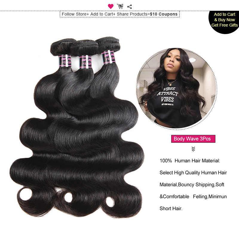 Ishow Transparent Spitze Frontal mit Bundles Körper Welle Bundles mit Verschluss Frontal Malaysische Menschliche Haar Bundles mit Frontal