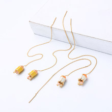 Lily Enamel Acrylic Beads Pendants Drop Earrings Ear Thread Earrings Modern Exquisite Summer For Women Arrival Fashion Jewelry(China)