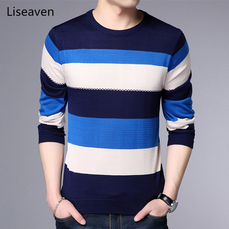 Liseaven Men's Striped Sweater Men Pullovers O-Neck Pull Homme Mens Pullover Sweaters Male Clothing